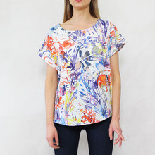 Zapara White Floral Water Colour Print Top