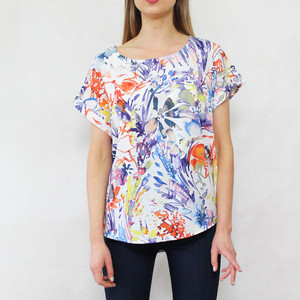 Zapara White Floral Water Colour Print Top
