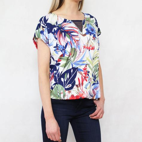 SophieB Navy & Green Floral Print Zip Detail Neckline Top
