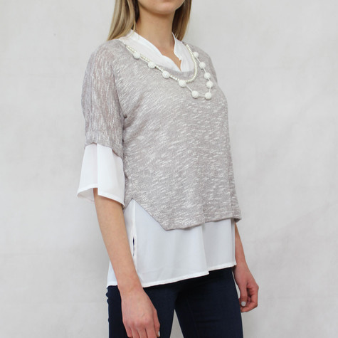 SophieB Linen 2 in 1 Pearl Detail Grey Top