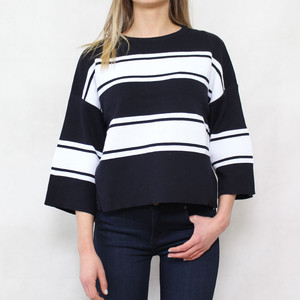 Twist Navy Off White Strip Boxy Knit