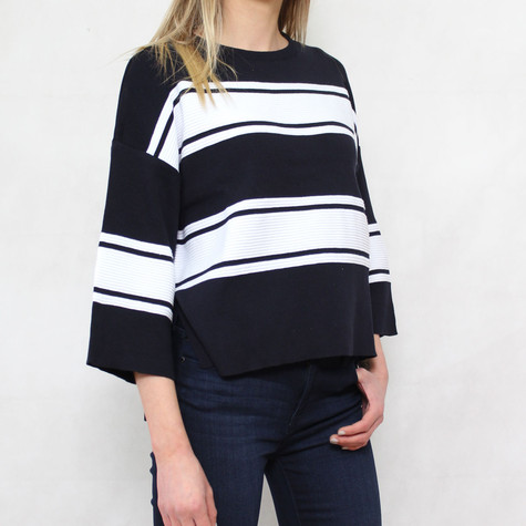 Twist Navy Off White Strip Boxy Knit