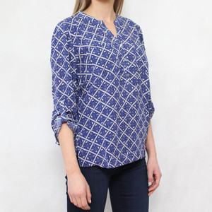 Twist Blue Anchor Pattern Blouse