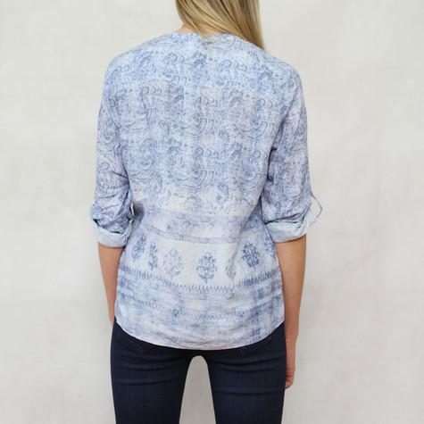 Twist Pattern Pale Blue 3 Button Blouse