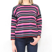 Twist Black, White & Fushia Stripe Knit