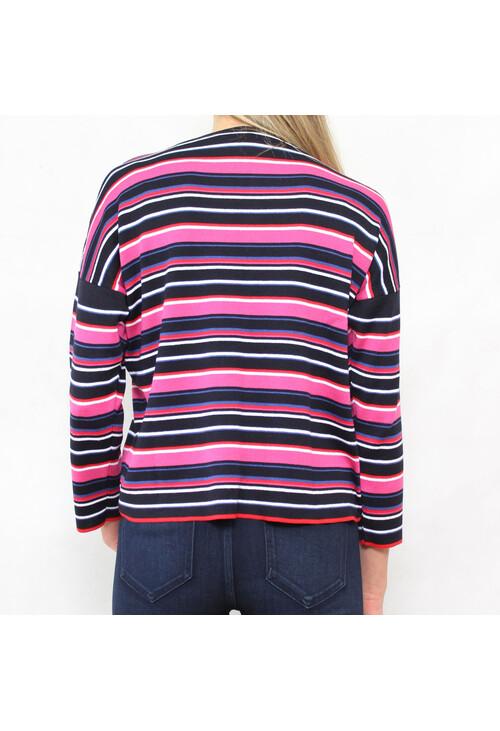 Twist Black, White & Fushia Stripe Knit