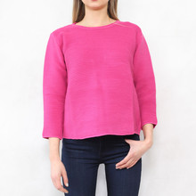 Twist Fushia Ripped 3/4 Sleeve Knit