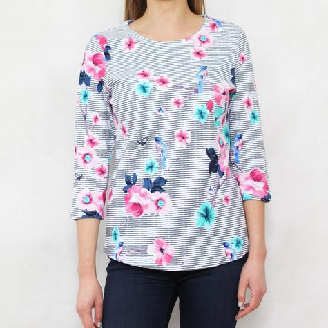 Twist White & Navy Stripe Floral Print Top