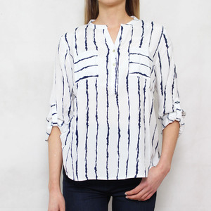 Twist Off White Navy Stripe Blouse