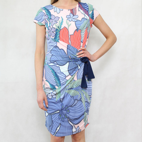Zapara Blue & Coral Navy Tie Wrap Dress