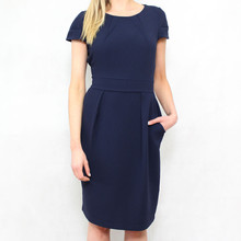 Zapara Navy Crepe Round Neck Dress