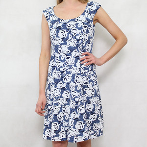 Ronni Nicole Blue & White Sleeveless Dress