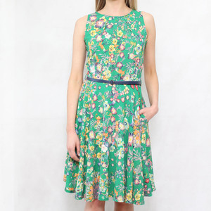 Zapara Green Floral Print Belt Dress