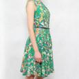 Zapara Green Floral Print Belt Dress