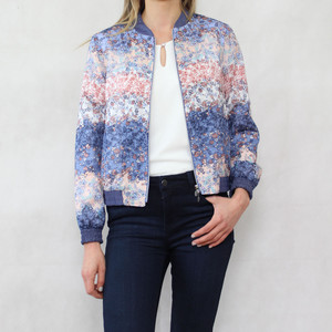 Bianca Blue Floral Zip Up Bomber Jacket