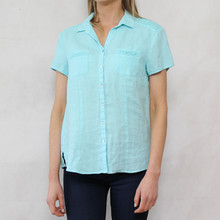 Bianca Aqua Linen Button Up Shirt