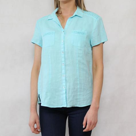 Bianca Aqua Linen Button Up Shirt