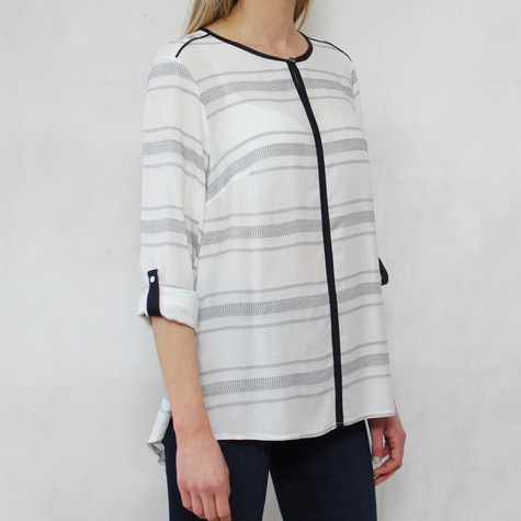 Bianca Cream Stripe Dark Trim Top