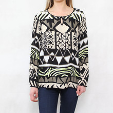 Bianca Black & Beige Pattern Top