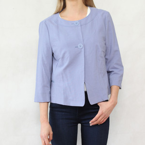 Bianca Blue Linen Two Button Jacket