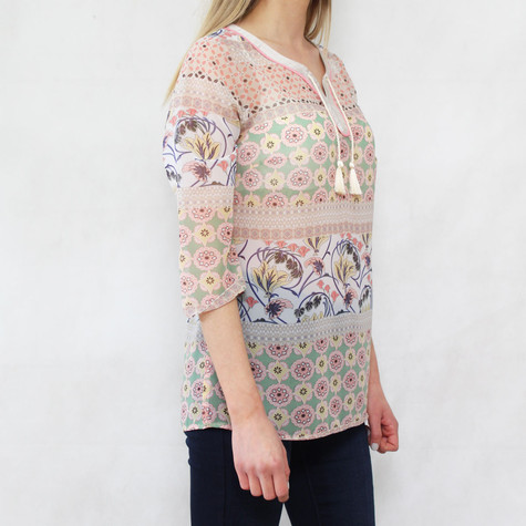 Bianca Pink & Pale Green Light Chiffon Top