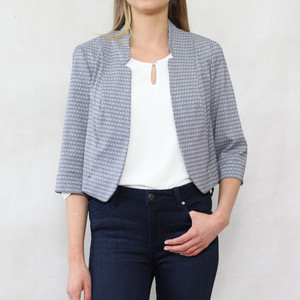 Bianca Navy & White Crop Jacket