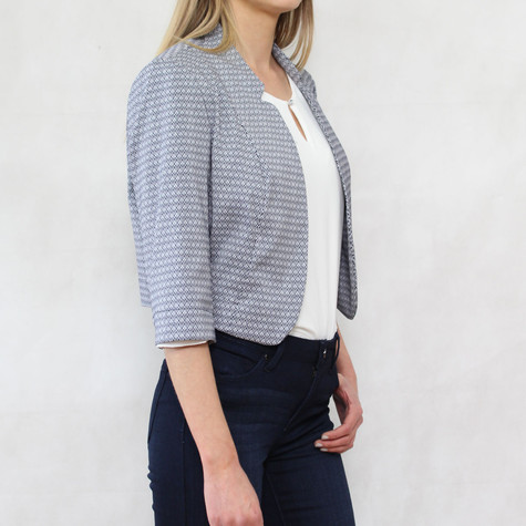 Bianca Navy & White Crop Jacket
