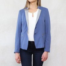 Bianca Blue Light Rib Crop Jacket