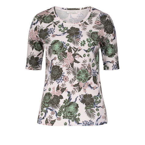 Betty Barclay Off White Fine Rib Floral Print Top