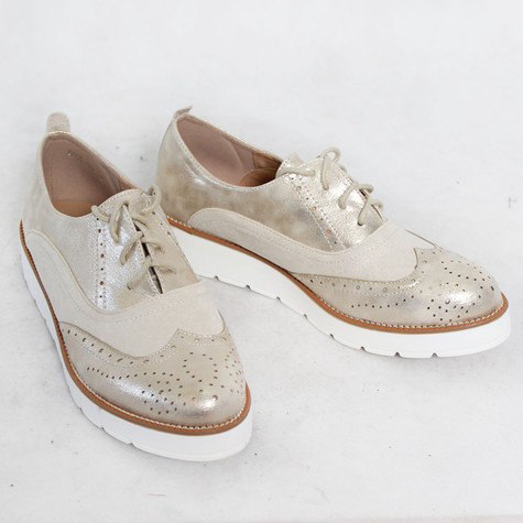 Sixth Sen Beige Metallic Brogues