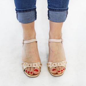 Pinkai Pale Pink Stud Block Heel