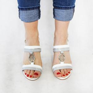 Pinkai White & Grey Patent Heels