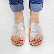 Tony & Co. Silver Diamante Toe Post Sandal