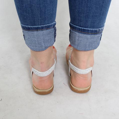 Tony & Co. Silver Diamante Toe Post Sandal