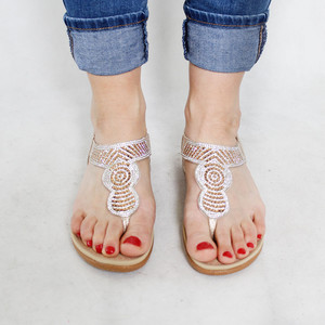Tony & Co. Gold Diamante Toe Post Sandal