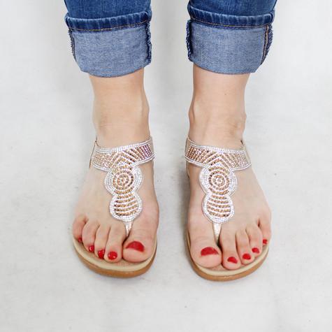 Tony & Co. Gold Diamante Toe Post Sandal
