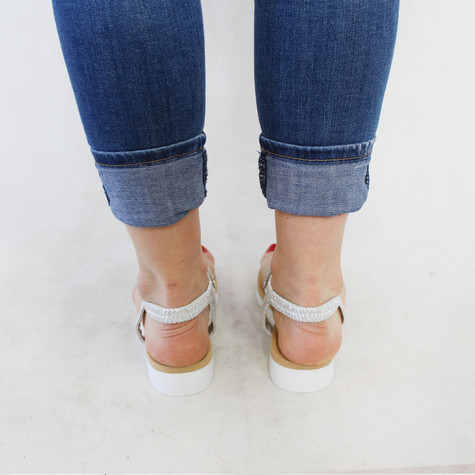 Sixth Sen Silver Diamante Toe Post Sandal