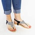 Sixth Sen Black Diamante Toe Post Sandal
