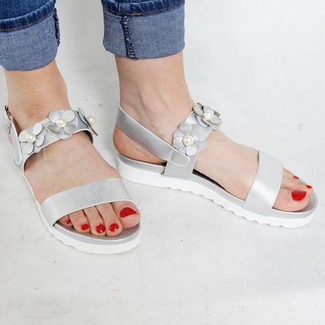 Sandara Silver Flower Detail Sandal