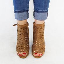 La Bottine Souriante  Camel Hi Top Block Heel Peep Toe Shoe