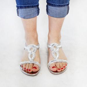 Lunar Silver Elastic Back Diamante Sandal