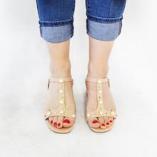 Lunar Nude Block Heel T Strap Pearl Design Shoe