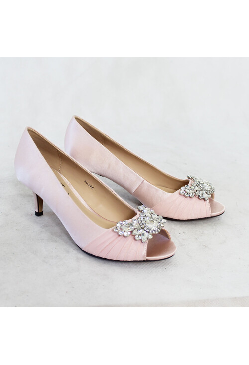 Lunar Pink Satin Court Heel Shoes