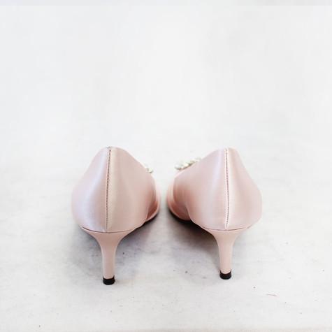 Lunar Pink Satin Court Heel Shoes