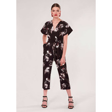 Closet Black Floral Wrap Over Tie Front Jumpsuit