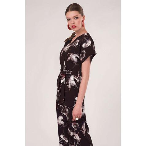 Closet Black Floral Wrap Over Tie Front Jumpsuit