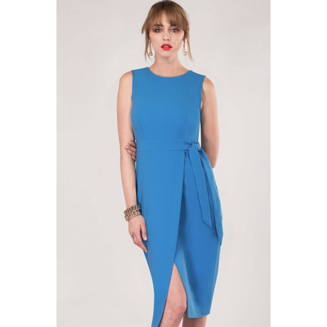 Closet Blue Tie V-Back Pencil Dress