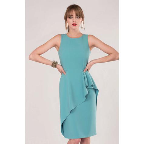 Closet Aqua Blue Pencil Peplum Drape Dress