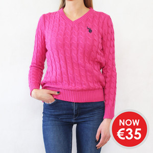 Twist Fushia V-Neck Knit - NOW €35 -
