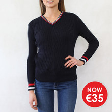 Twist Navy & Red V-Neck Knit - NOW €35 -